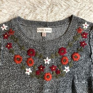 Knox Rose Sweaters - Knox Rose Gray Embroidered Balloon Sleeve Sweater